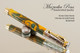 Handmade Rollerball Pen made from Green Glow Resin with Chrome finish / gold colored accents.
