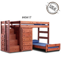 Twin/Twin Loft Bed with Chest, Solid Pine