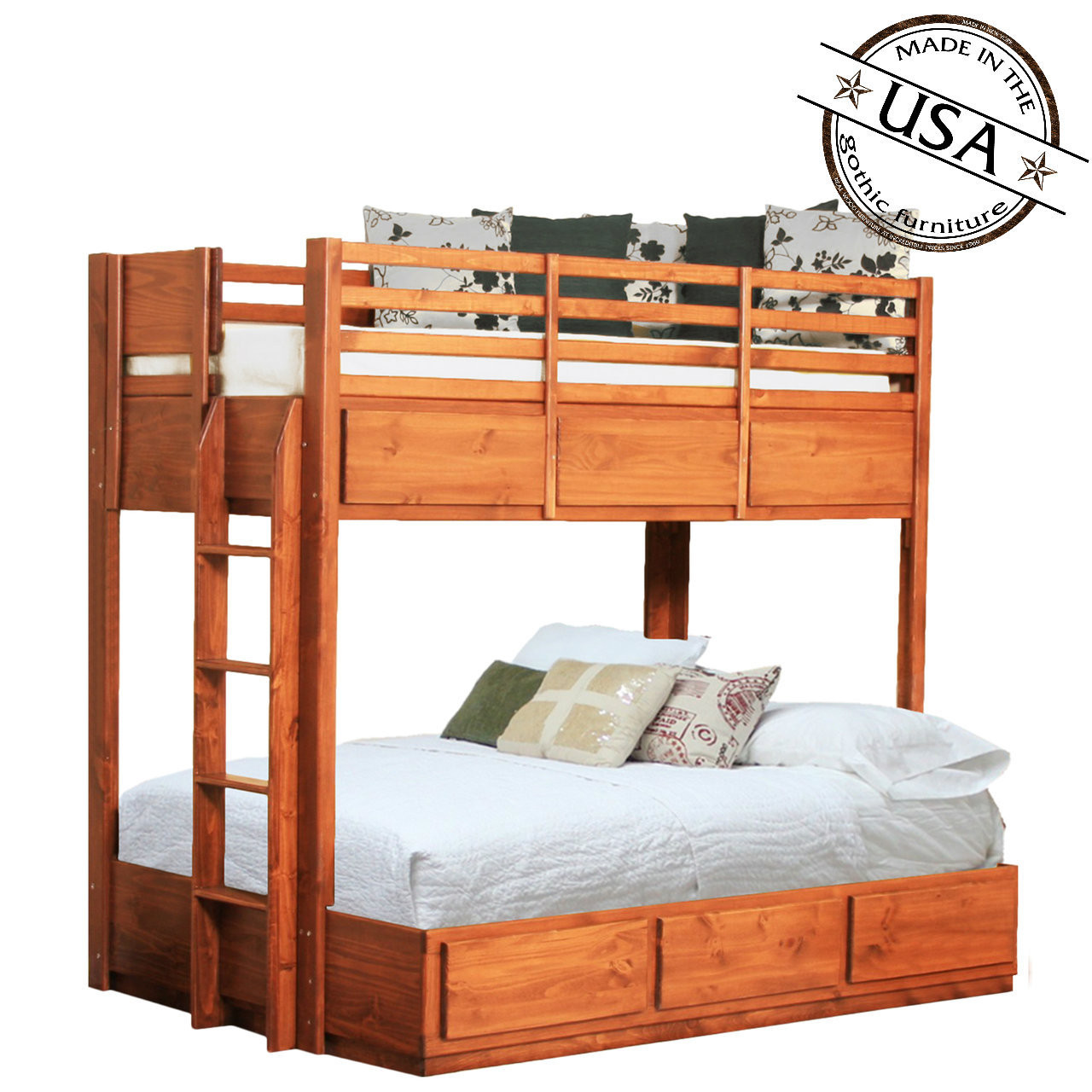 Twin Over Full Bunk Bed w 6 Drawers Pine Gothic Furniture