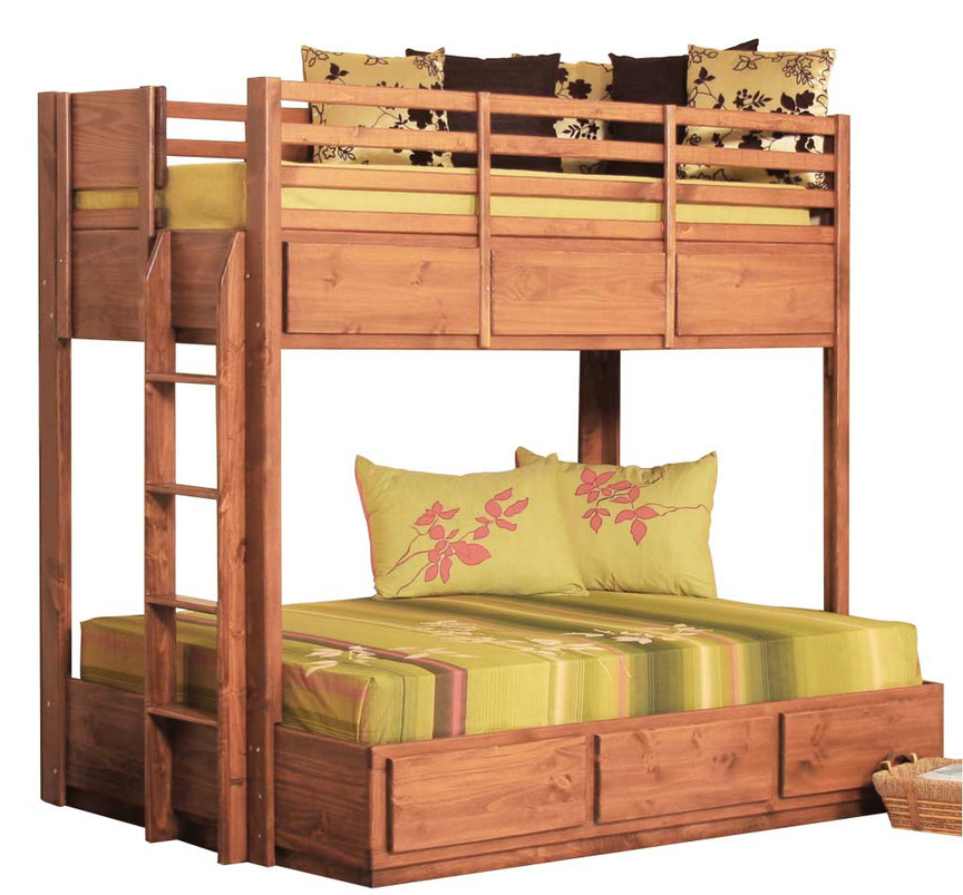 Twin Over Full Bunk Bed W 6 Drawers Pine