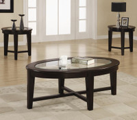 Plainview Coffee Table and 2 End Table Set CAPPUCCINO