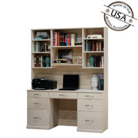 Flat Iron Desk & Hutch Set with 7 Drawers