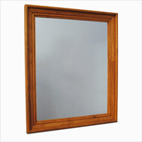 "CLEARANCE - Birch or Oak Wood Crown Molding Mirror 28"" x 34"""