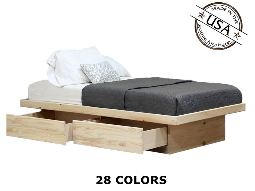 Queen Platform Bed With 2 Drawers Pine Wood Gothic Furniture