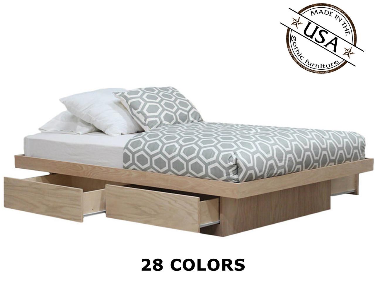 queen platform bed with 4 drawers on tracks oak wood gothic furniture. Black Bedroom Furniture Sets. Home Design Ideas