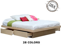 King Platform Bed with 4 Drawers on Tracks | Birch Wood