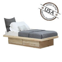 Twin Platform Bed 2 Drawers in Pine