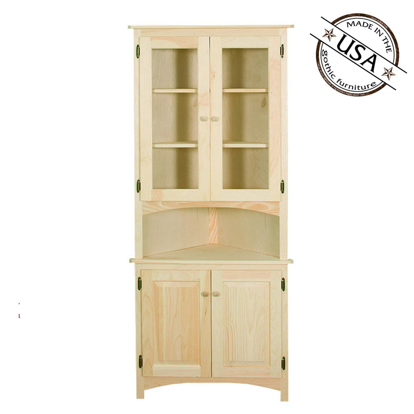 Corner Cabinet With Raised Panel And Glass Doors