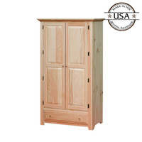 Wardrobe With 2 Raised Panel Doors and Drawer