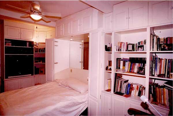 Custom Murphy Bed Wall Unit In White