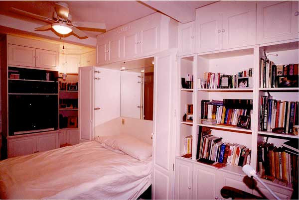 CUSTOM MADE - White Built-In Wall Unit With Bed