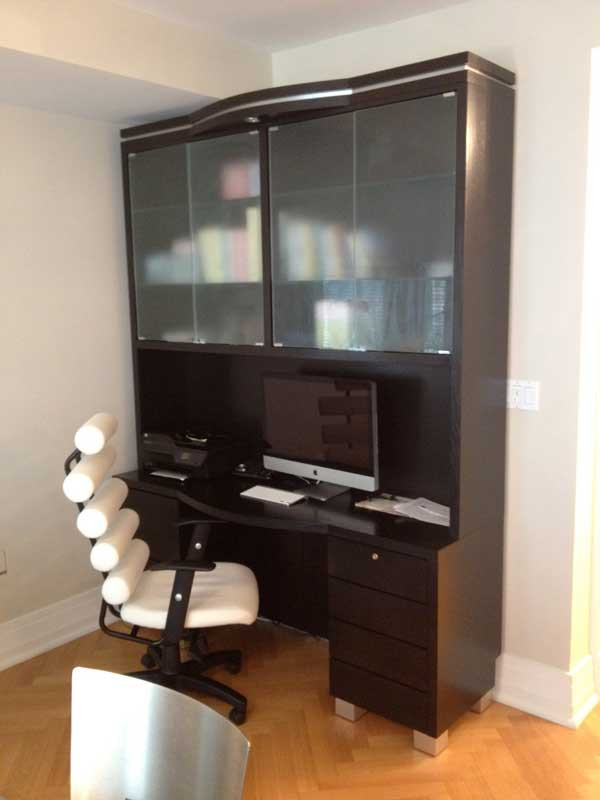 Custom Made Computer Desk Amp Hutch With Glass Doors