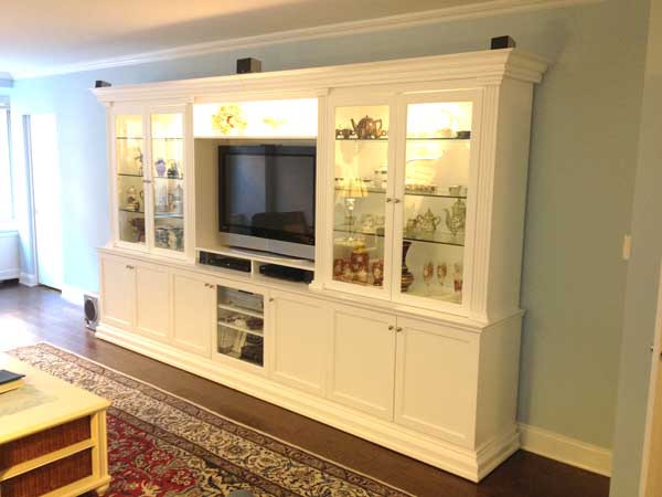 Custom Made White Entertainment Center With Glass Doors