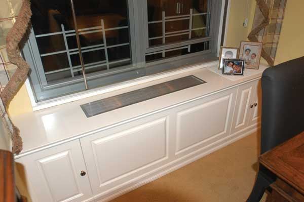 Custom Built In White Radiator Cover With Top Vent