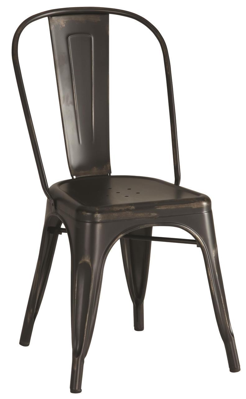 4 Industrial Metal Chairs Rustic Black