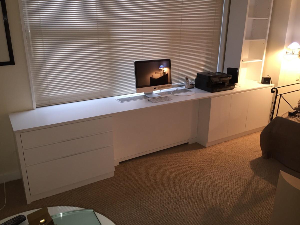 custom - modern built-in office desk in white