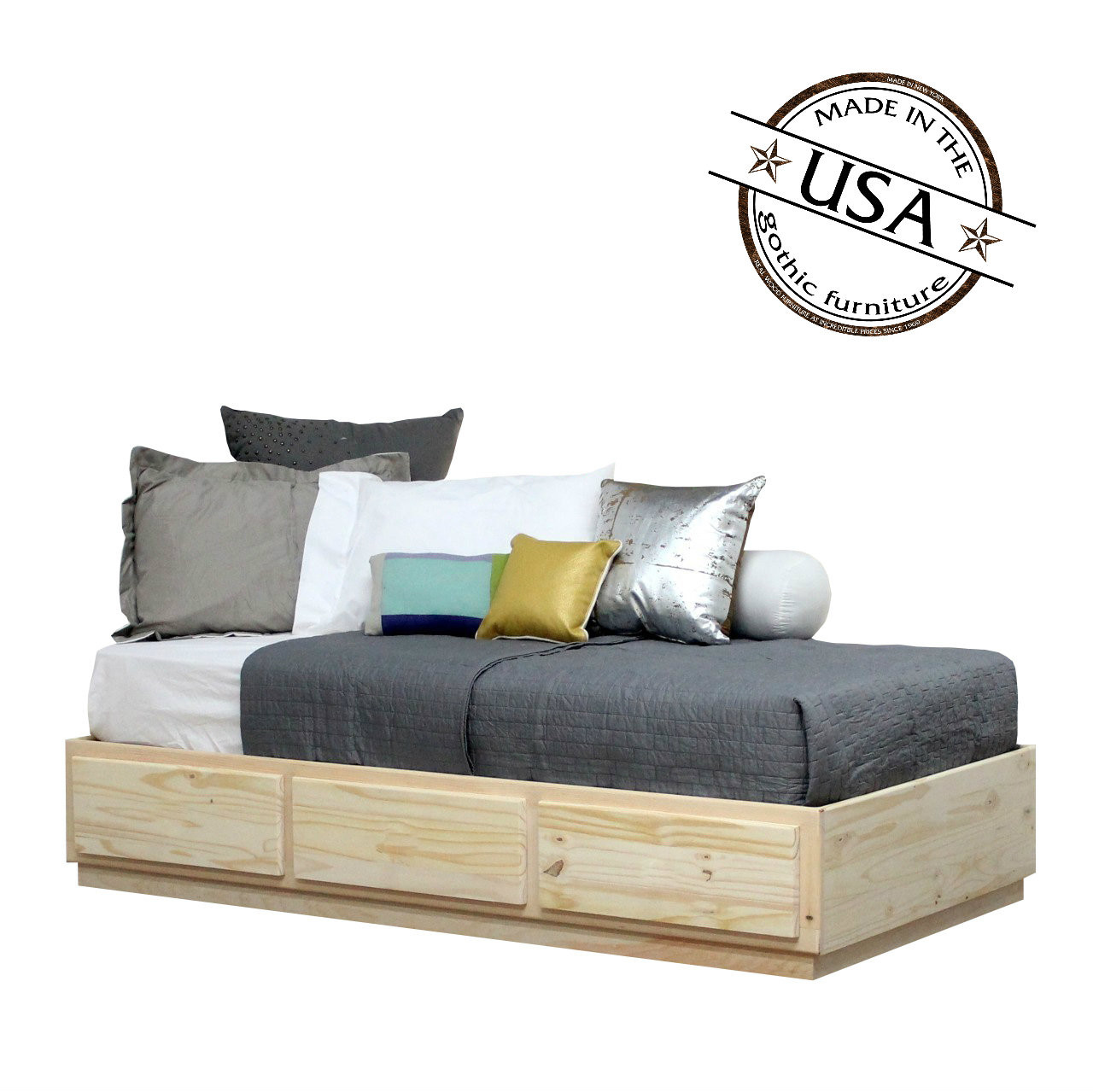 by low bed daniel or solid platform drawers king profile furniture storage amish products wood s with drawer pedestal