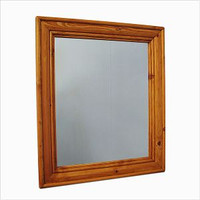 "CLEARANCE - Pine, Birch or Oak Wood Crown Molding Mirror 24"" x 28"""