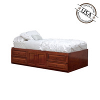 Twin XL Raised Panel Storage Bed With 4 Drawers and 2 Doors
