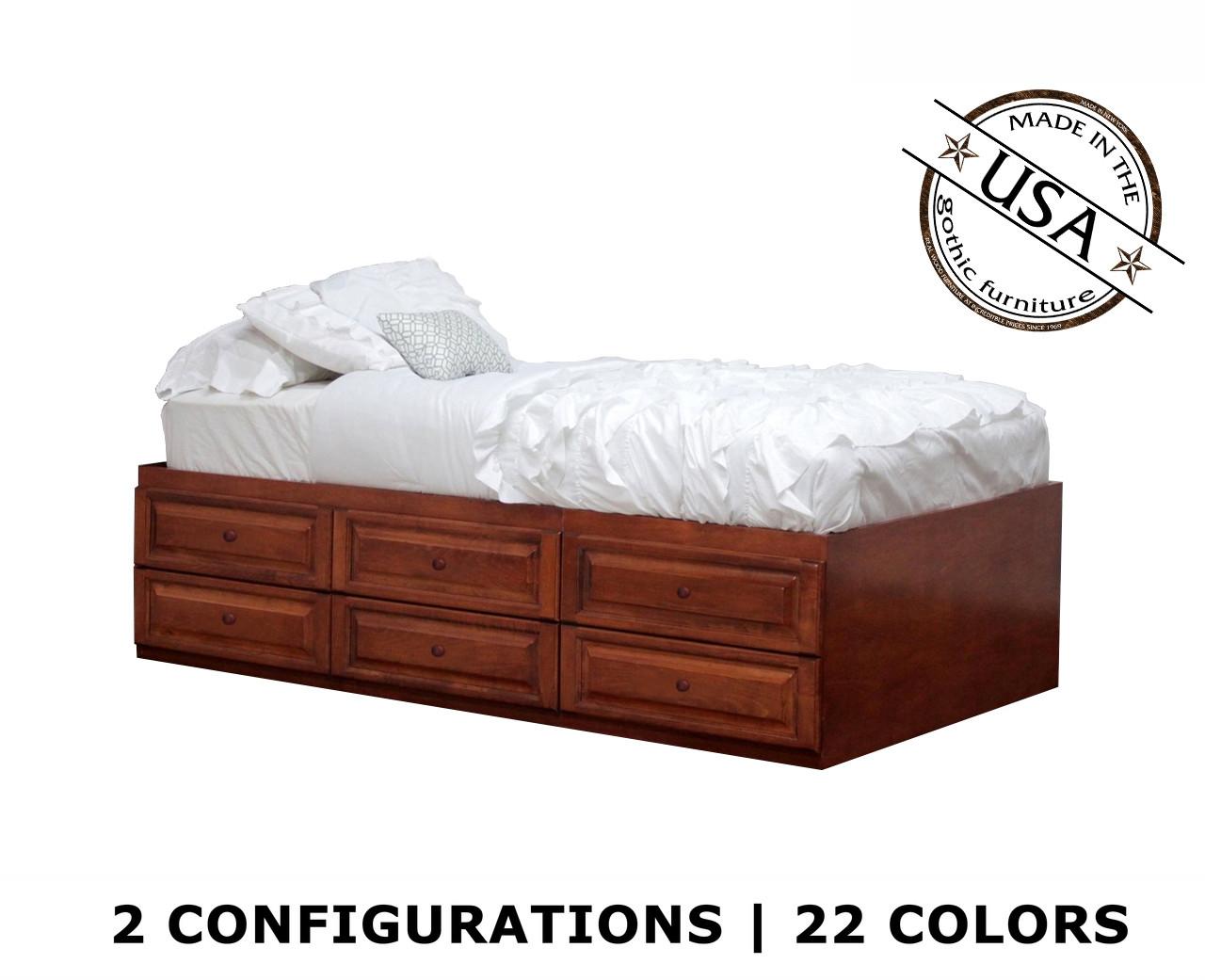Twin Xl Raised Panel Storage Bed Birch Wood Gothic