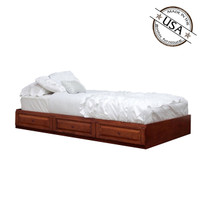 twin captains bed with 3 raised panel drawers on metal tracks in birch - Twin Captains Bed