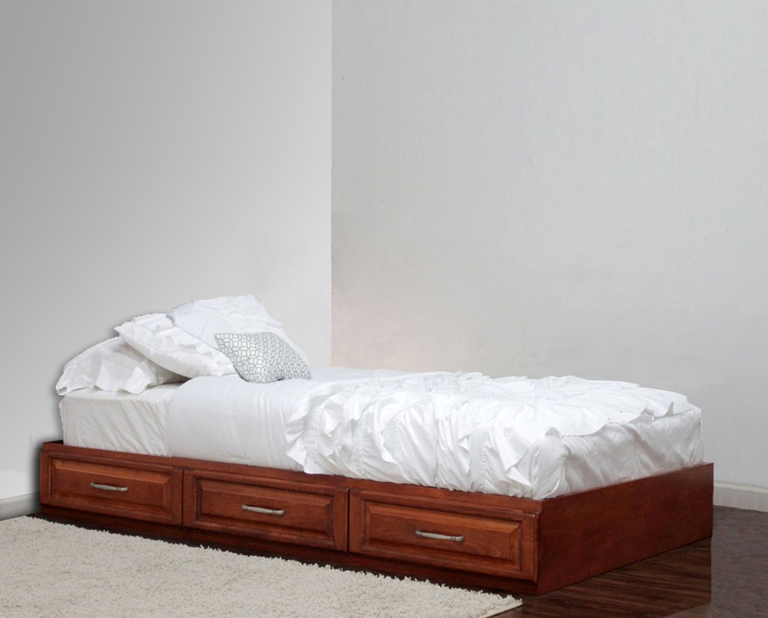 Twin captains bed with 3 raised panel drawers on metal for Gothic cabinet craft platform bed