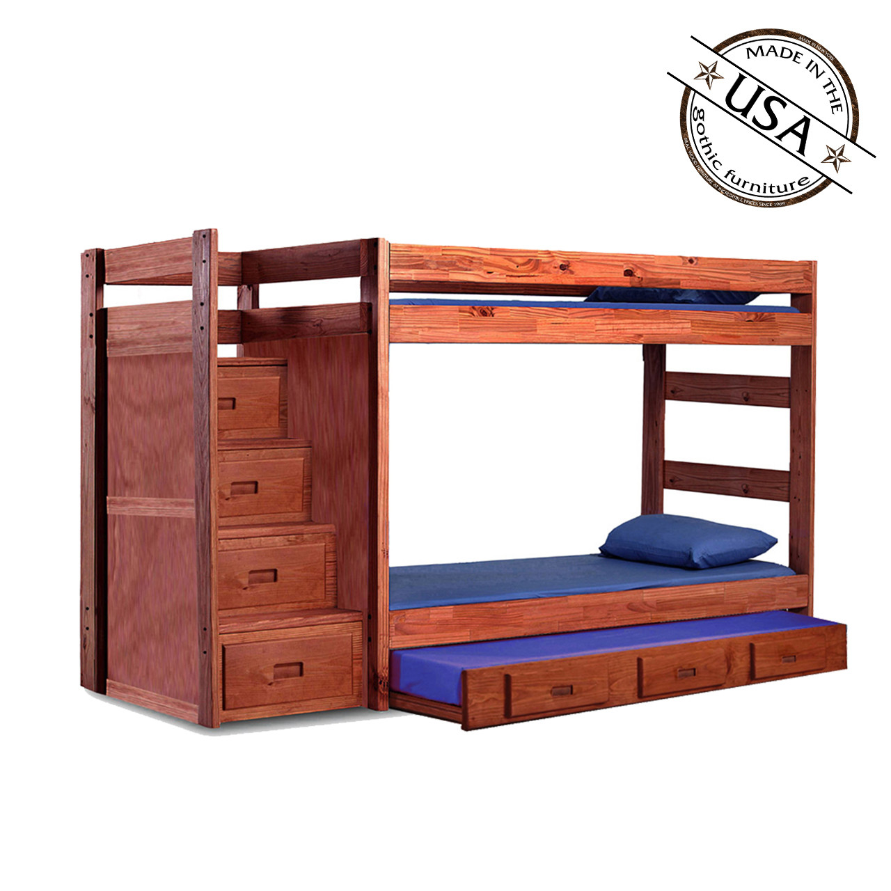 Twin Bunk Bed Reversible Storage Stairs Optional