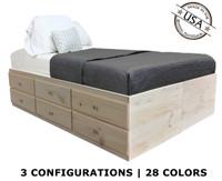 full storage bed pine wood