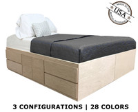King Storage Bed | Oak Wood