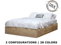 Full Captains Bed with 3 or 6 Drawers on Tracks | Pine Wood