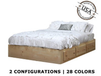 Queen Captains Bed with 3 or 6 Drawers on Tracks | Pine Wood