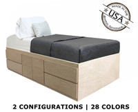 Extra Long Twin Storage Bed | Oak Wood