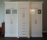 CUSTOM - White Raised Panel Storage Wall Unit