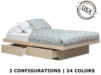 XL Full Platform Bed with 2 or 4 Drawers on Tracks | Oak Wood