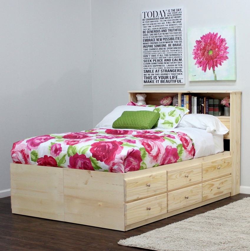 Shown in Unfinished Pine, w/ optional Bookcase Headboard.