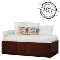 Extra Long Twin Storage Bed 4 Drawers & 2 Doors in Birch