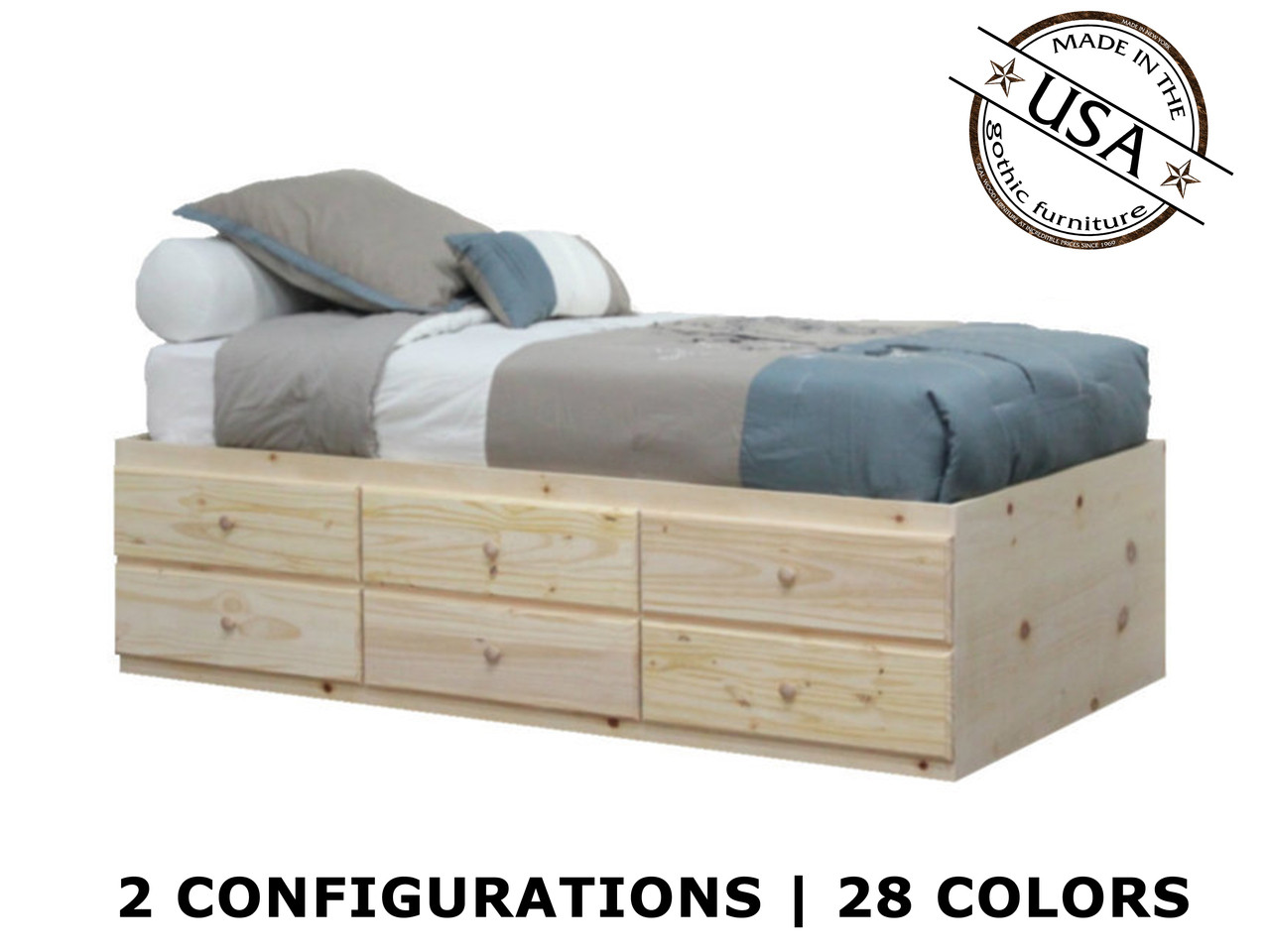 Extra Long Twin Storage Bed | Pine Wood | Gothic Furniture
