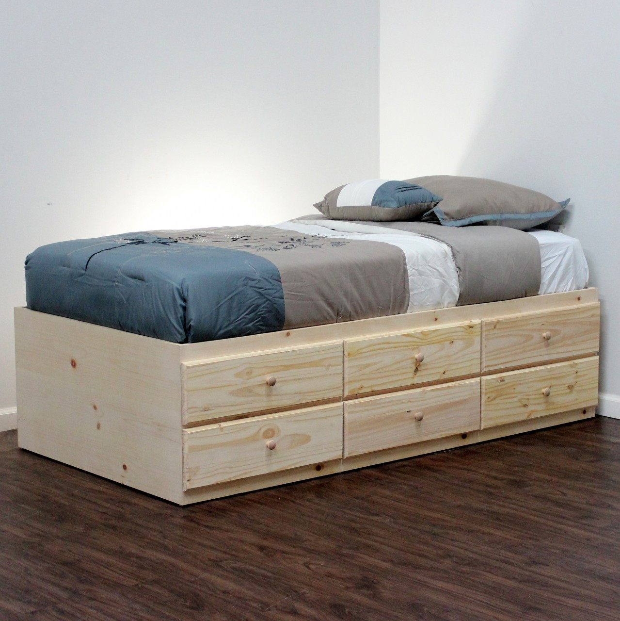 Extra Long Twin Storage Bed With 6 Drawers Gothic