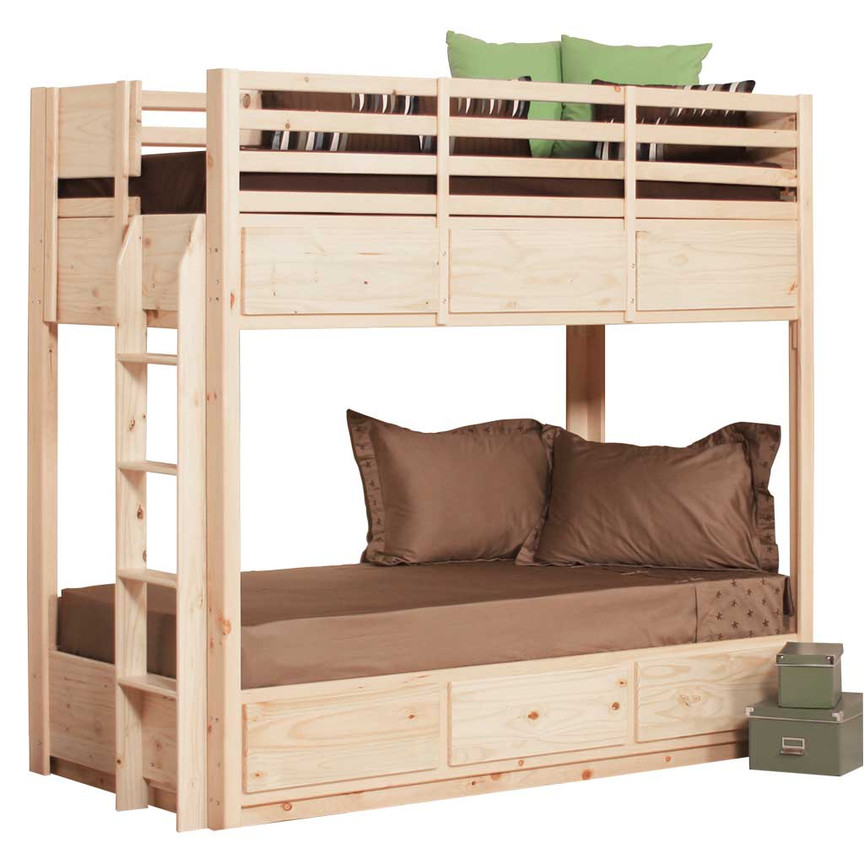 Twin bunk bed with 6 drawers pine for Gothic cabinet craft platform bed