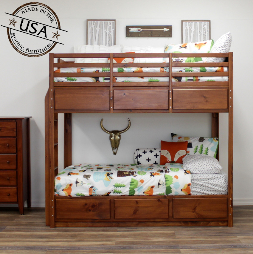 Twin Bunk Bed With 6 Drawers On Metal Tracks Gothic