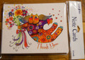 Leanin Tree 8 Pack Card Set - Laurel Burch Colorful Cat Holding Flowers, Thank You