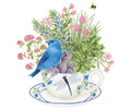 Alice's Cottage Set of 2 Cotton Flour Sack Towels BLUE BUNTING, FLOWERS