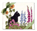 Alice's Cottage Set of 2 Cotton Flour Sack Towels CAT W/ FLOWERS