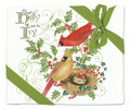 Alice's Cottage Set of 2 Cotton Flour Sack Towels, Holly & Ivy Cardinal Birds