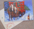 Leanin Tree CHRISTMAS CARDS - 10 Box - 2 HORSES PULLING A SLEIGH W/ A CHRISTMAS TREE