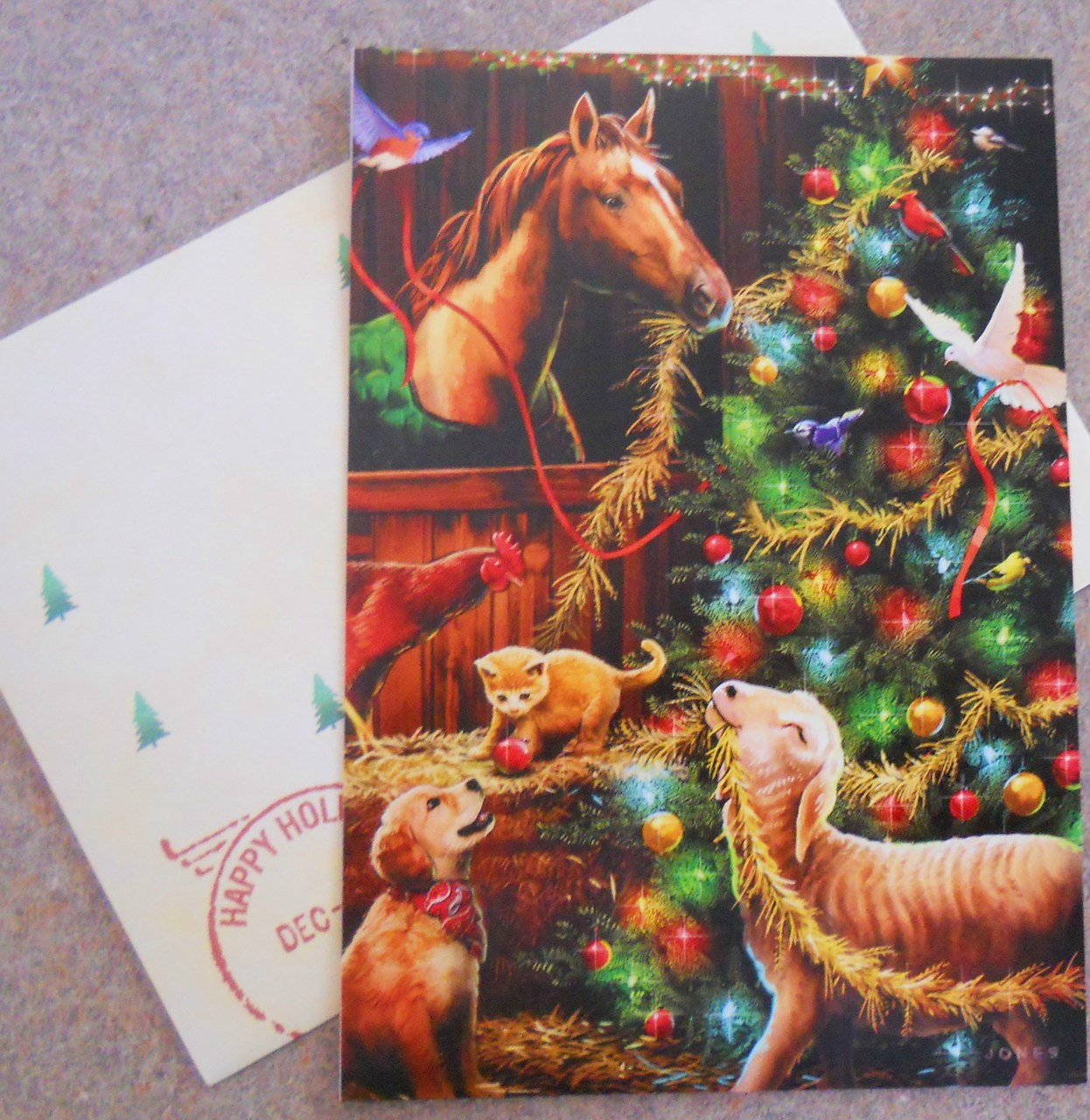 Leanin Tree Christmas Cards.Leanin Tree Christmas Cards 10 Box Animals In Barn Decorating A Christmas Tree