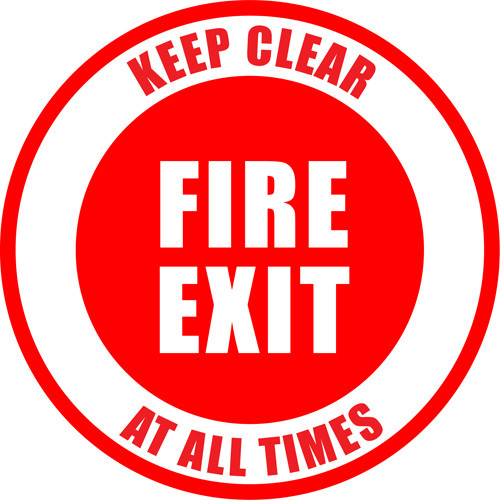 Keep Clear Fire Exit Floor Sign