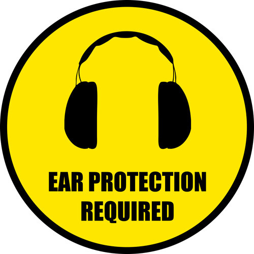 Ear Protection Floor Sign : Warns to wear PPE for ears ...