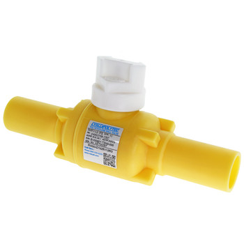 "1-1/2"" IPS DR11 PE2406 Poly Valve Full Port Yellow"