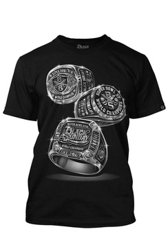 Black Sunday 3 Rings Black Mens Tee Shirt (front print)